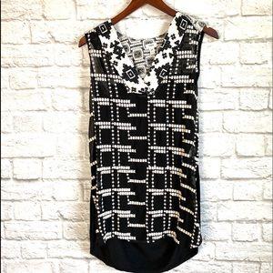 Tiny Anthropologie black & white embroidered tunic